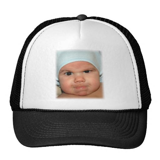 Angry baby expression mesh hat
