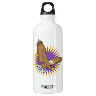Angry Bald Eagle Landing Aluminum Water Bottle