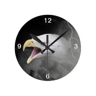 Angry bald eagle round wall clocks