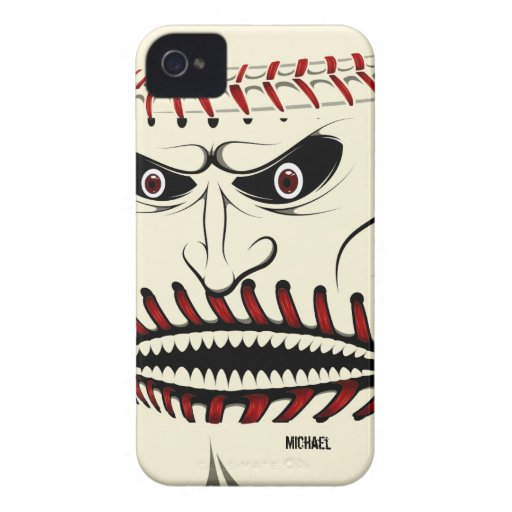 Angry Baseball Ball Character iPhone 4 Case