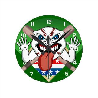 Angry Baseball Ball Pitch Bats Wall Clock