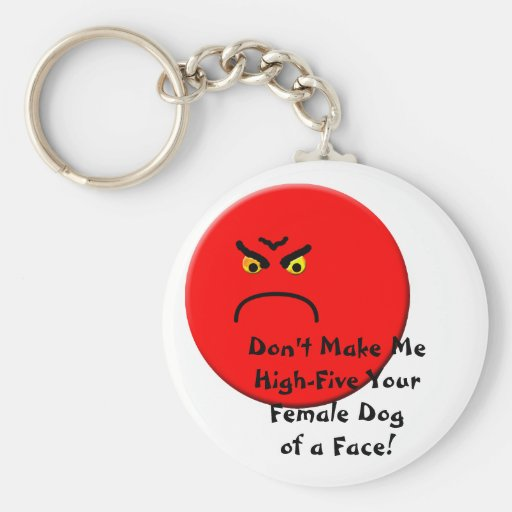 Angry Basic Round Button Keychain