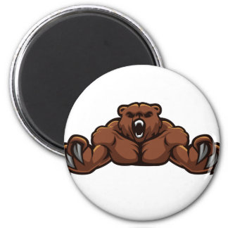 Angry Bear 2 Inch Round Magnet