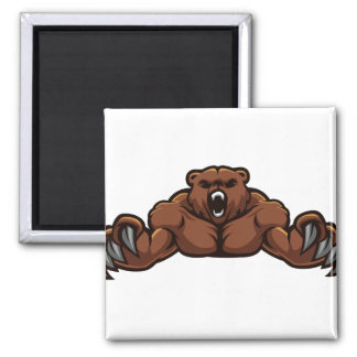 Angry Bear 2 Inch Square Magnet