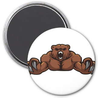 Angry Bear 3 Inch Round Magnet