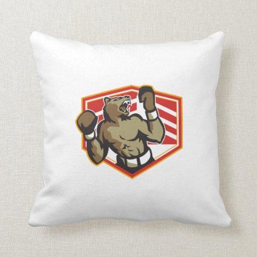 Angry Bear Boxer Boxing Retro Throw Pillow