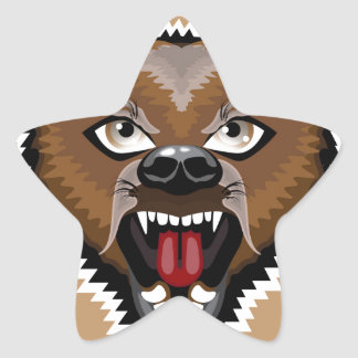 Angry Bear cartoon Star Sticker