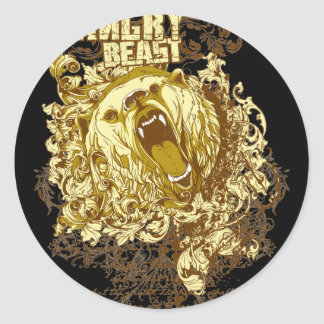 Angry Bear Classic Round Sticker