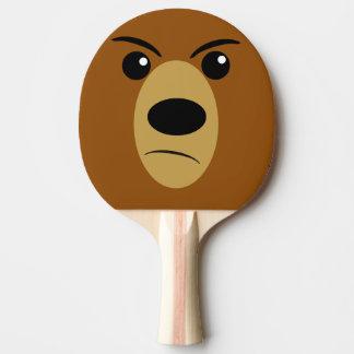 Angry Bear Face Ping Pong Paddle