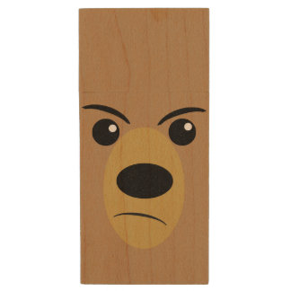 Angry Bear Face Wood USB 2.0 Flash Drive