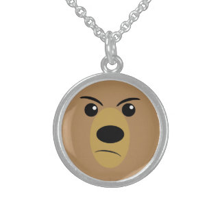 Angry Bear Face Round Pendant Necklace