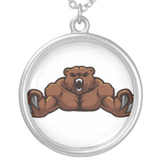 Angry Bear Round Pendant Necklace