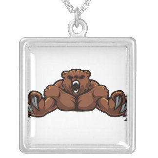 Angry Bear Square Pendant Necklace