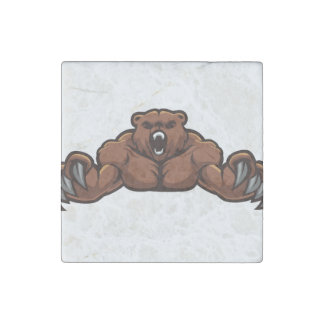 Angry Bear Stone Magnet