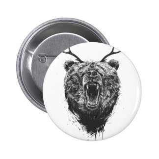 Angry bear with antlers button