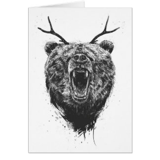 Angry bear with antlers card