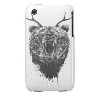 Angry bear with antlers Case-Mate iPhone 3 cases