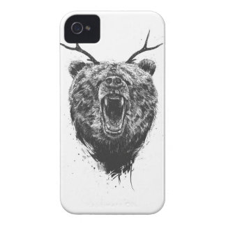 Angry bear with antlers iPhone 4 case