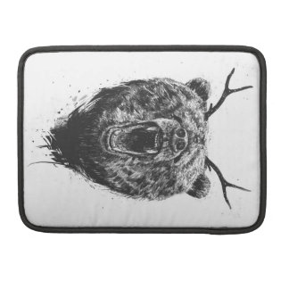 Angry bear with antlers MacBook pro sleeves