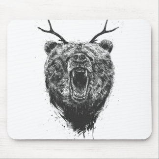 Angry bear with antlers mouse pad