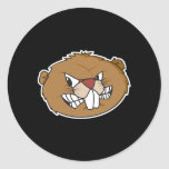 angry beaver face classic round sticker