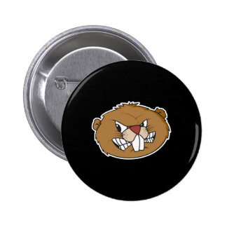 angry beaver face pinback button