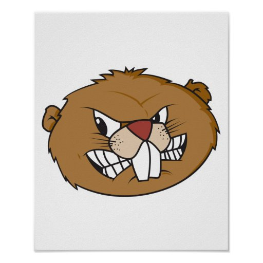 Angry Beaver Face Print