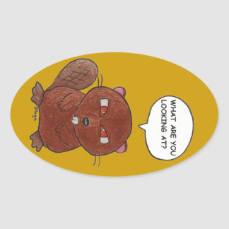 Angry Beaver Oval Sticker