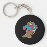 angry beaver wearing sweater basic round button keychain