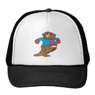 angry beaver wearing sweater trucker hat