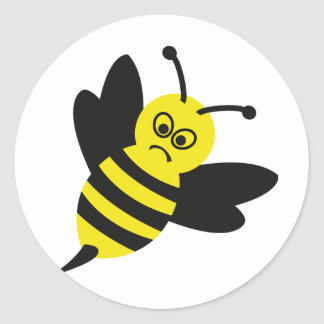 angry bee icon classic round sticker