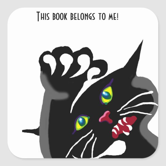 Angry black cat bookplate Sticker