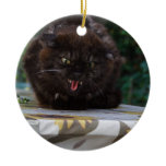 Angry Black Cat Ceramic Ornament