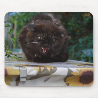 Angry Black Cat Mouse Pad