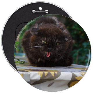 Angry Black Cat Pinback Button