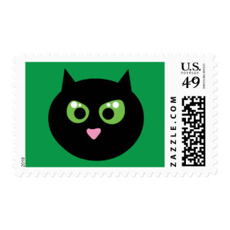 Angry Black Cat Postage Stamp