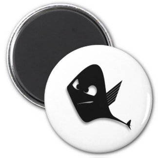 Angry Black Fish Cartoon Refrigerator Magnet
