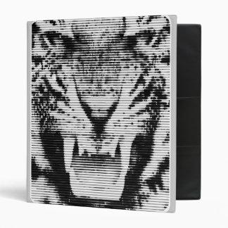 Angry Black Tiger Horizontal Lines 3 Ring Binder