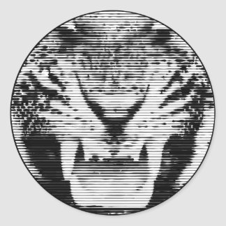 Angry Black Tiger Horizontal Lines Classic Round Sticker