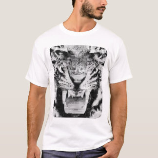 Angry Black Tiger Horizontal Lines T-Shirt
