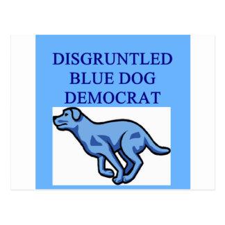 angry blue dog democrat postcard