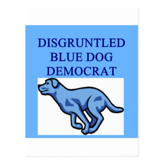 angry blue dog democrat postcard