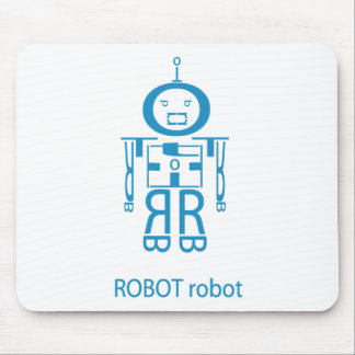 Angry Blue Robot Mouse Pad