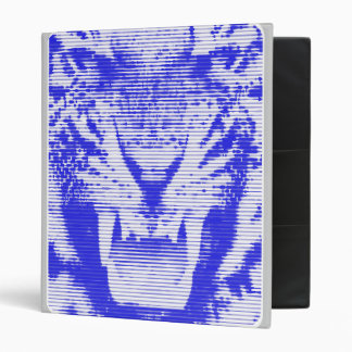Angry Blue Tiger Horizontal Lines 3 Ring Binder