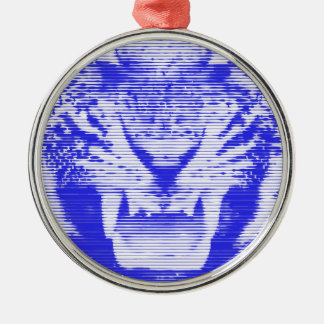Angry Blue Tiger Horizontal Lines Metal Ornament