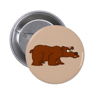 Angry brown bear design buttons and badges