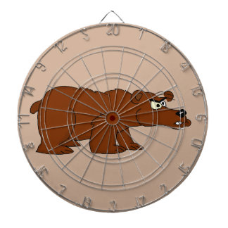 Angry brown bear design dartboard