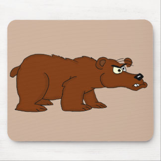Angry brown bear design mousepads
