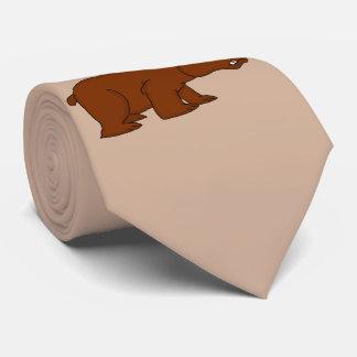 Angry brown bear design neck ties