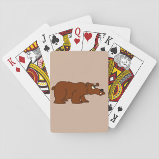 Angry brown bear design playing cards